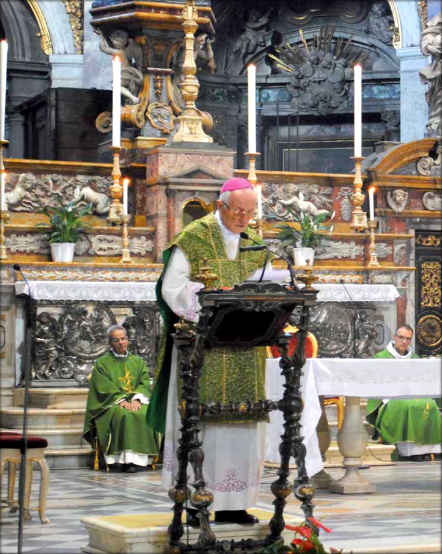Archbishop Nuncio Apostolic Pier Giacomo De Nicolò Giving His Homily about Maria Valtorta on October 15, 2011