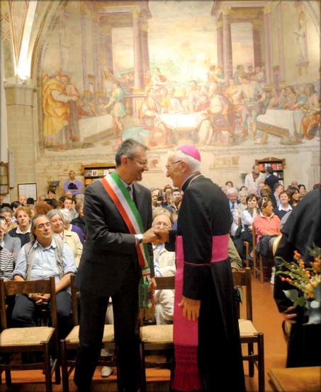Archbishop Nuncio Apostolic Pier Giacomo De Nicolò with the Representative of the Mayor of Isola del Liri, Italy During the Valtorta Conference