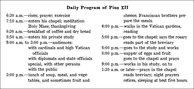 Daily Schedule of Pope Pius XII